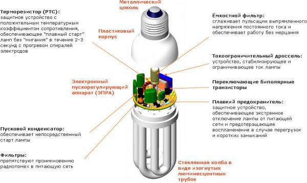 Конструкция уомпактной люминесцентной лампы