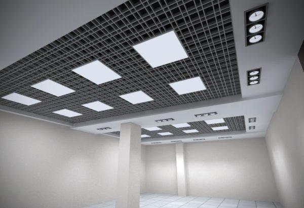 Встраиваемые светильники в потолке Грильято
