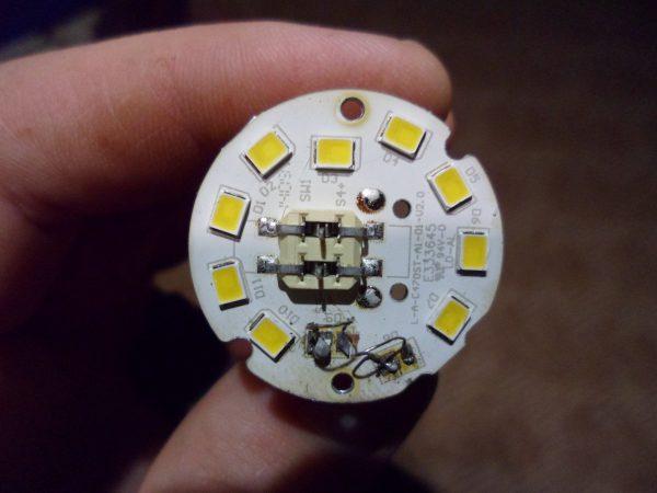Замена сгоревшего светодиода перемычкой