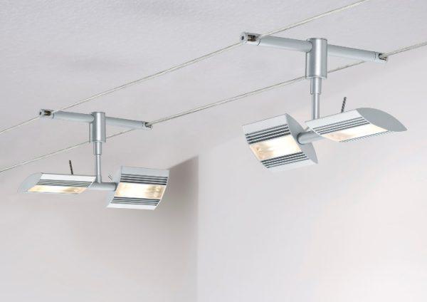 Горизонтальный способ подвески струнных светильников