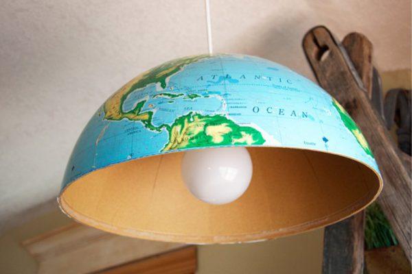 Изготовление люстры из глобуса
