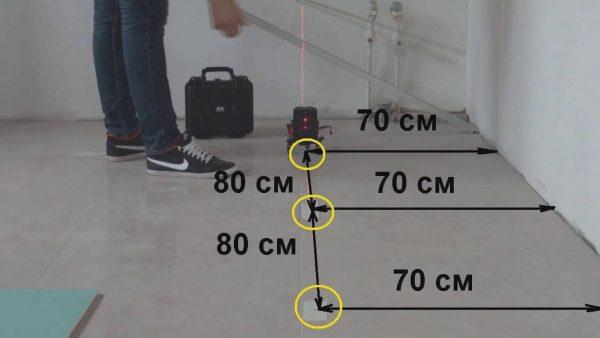 Разметка на полу под установку точечных светильников