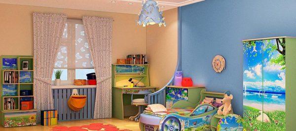 В детской комнате необходимо обеспечить высокий уровень освещенности
