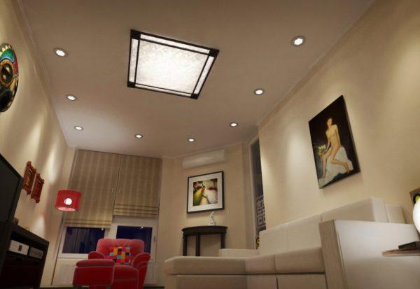 Потолочный светильник квадратной формы придает интерьеру элегантность