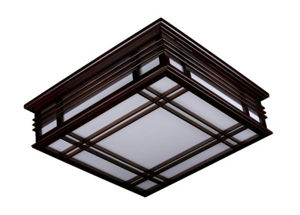 Квадратный светодиодный светильник с деревянными элементами