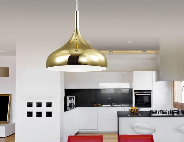 Люстра для кухни с металлическим плафоном