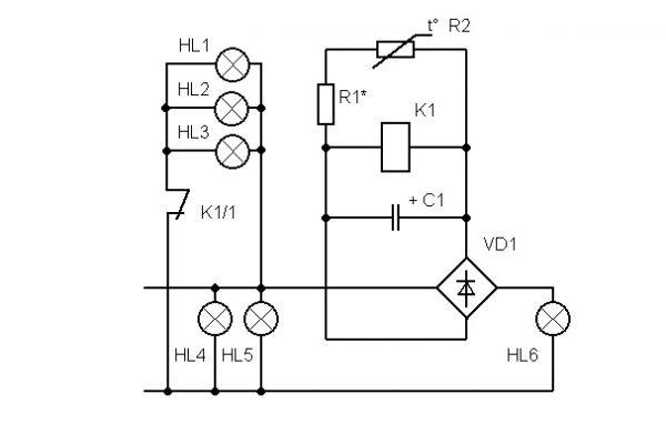 Релейная схема управления люстрой по двум проводам