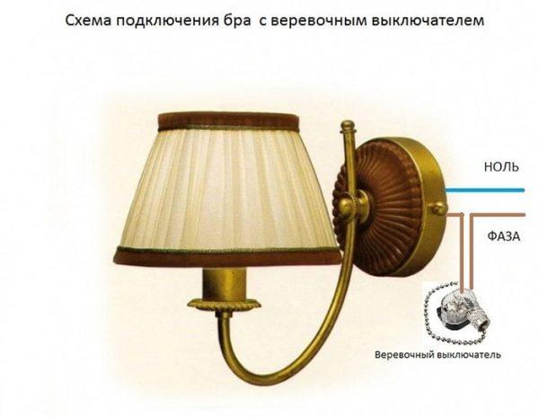 Схема подключения бра с веревочным выключателем