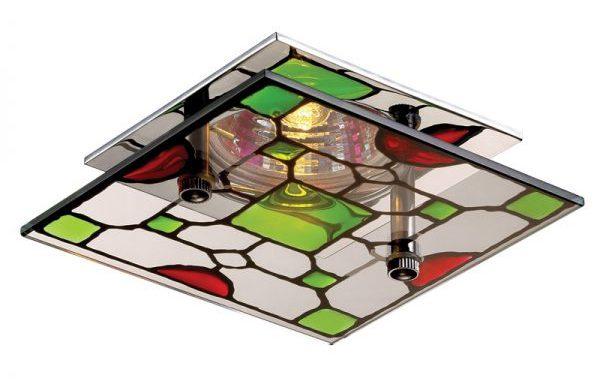 Квадратный потолочный светильник с витражным стеклом