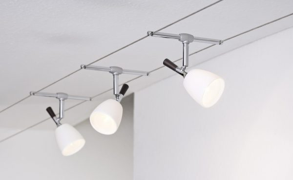 Размещение светильников на тросовой системе