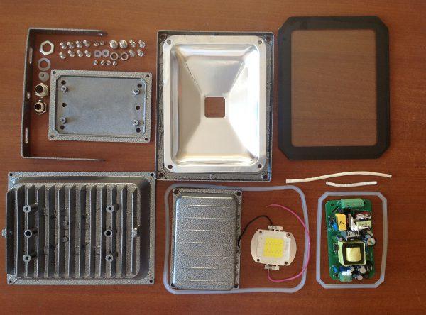 Основные элементы LED-прожектора
