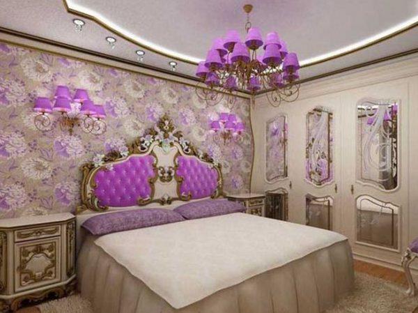 Фиолетовая люстра в спальную комнату