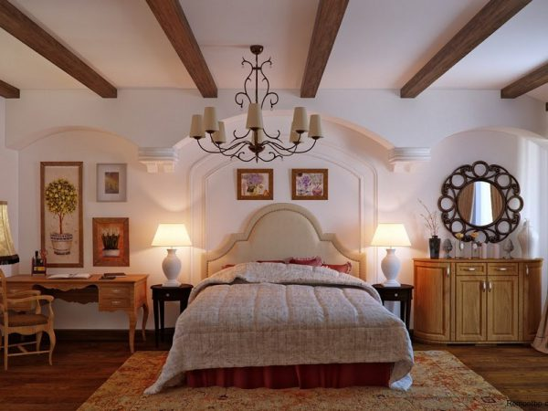 Люстра Country в спальной комнате