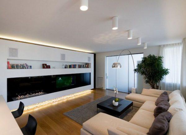 Освещение комнаты с помощью накладных точечных светильников