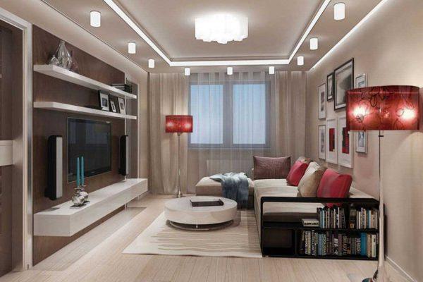 Сочетание люстры и точечных LED-светильников в гостиной