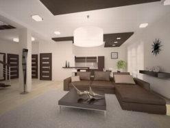 Освещение гостиной, выполненной в стиле минимализм