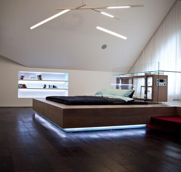 Светодиодная подсветка подиума кровати