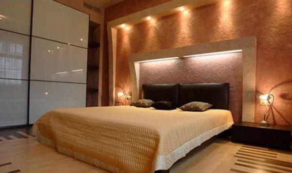 Декоративное освещение в спальной комнате