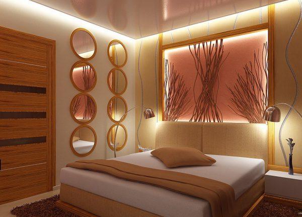 В спальной комнате рекомендуется использовать светильники закрытого типа