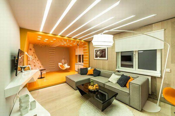 Зонирование гостиной при помощи освещения