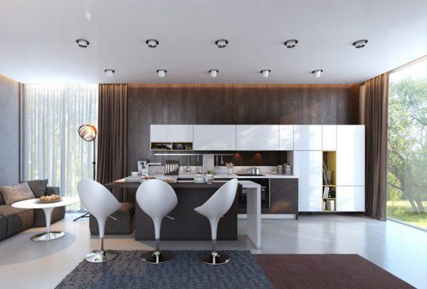 Расположение точечных светильников на кухне