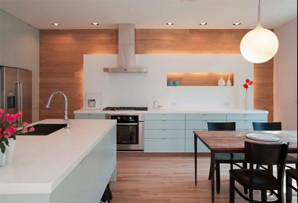 Распределение светильников вдоль рабочей зоны кухни