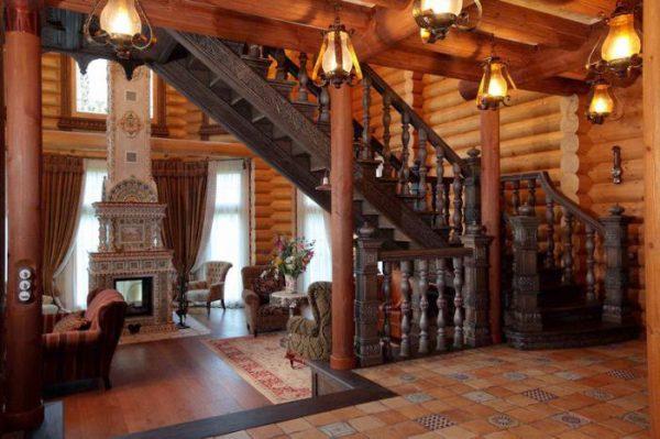 Светильники в интерьере деревянного коттеджа