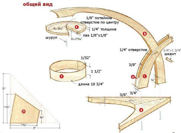 Схема опоры самодельной настольной лампы