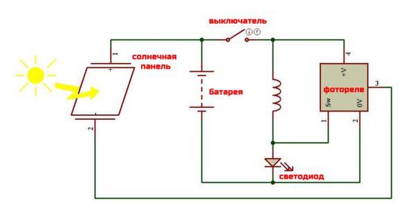 Схема подключения автономного садового светильника с фотореле