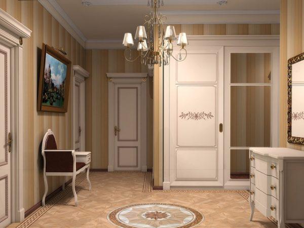 Для освещения больших холлов рекомендуется использовать классическую люстру