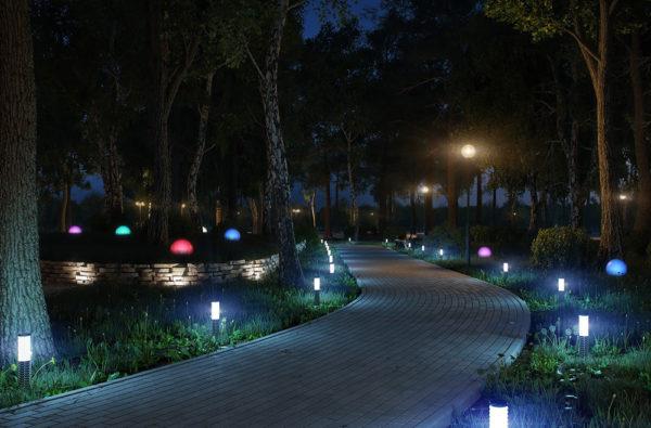 Освещение дорожек в парке с помощью боллардов