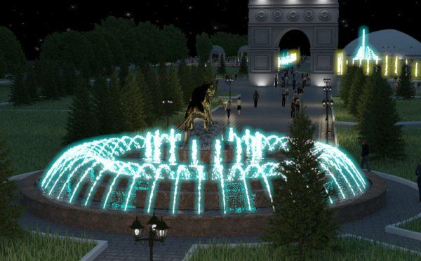 Освещение фонтана в парке
