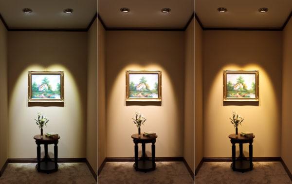 Освещение картины потолочными точечными светильниками