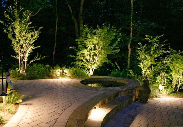 Освещение пешеходной дорожки с помощью подсветки растений