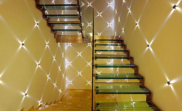 Подсветка стен встраиваемыми светильниками