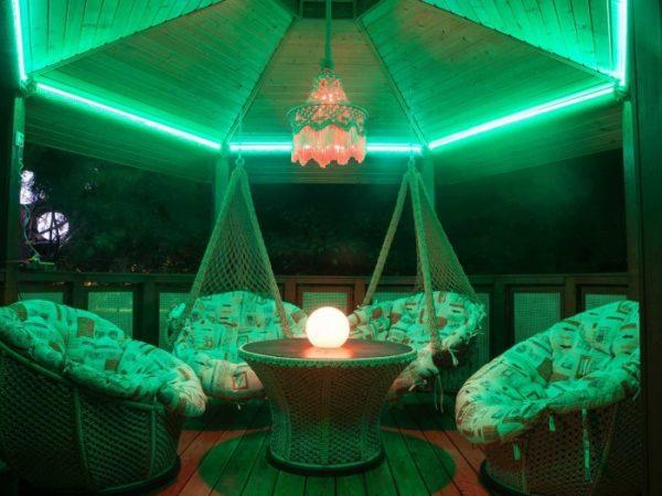 Подсветка беседки с помощью LED-ленты