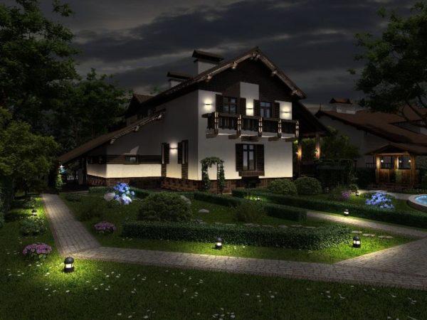 Пример устройства освещения участка загородного дома