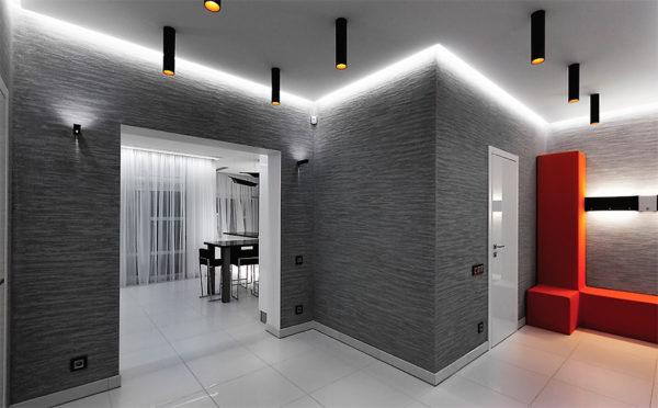 Использование разнопланового освещения в дизайне интерьера хай-тек прихожей