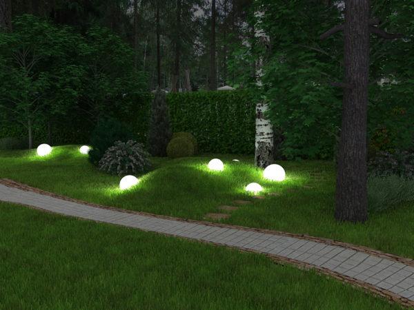 Светящиеся шары под деревом