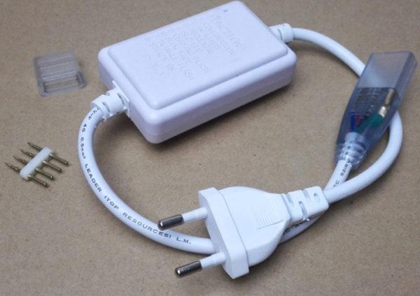 LED-лента подключается к сети через выпрямитель