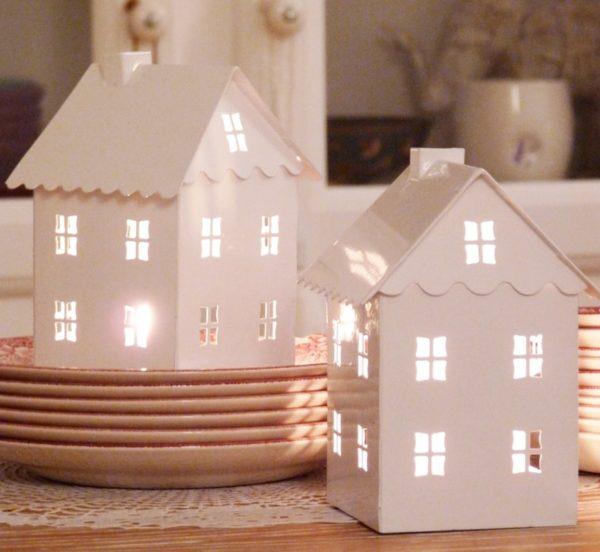 Новогодний светильник домик из бумаги