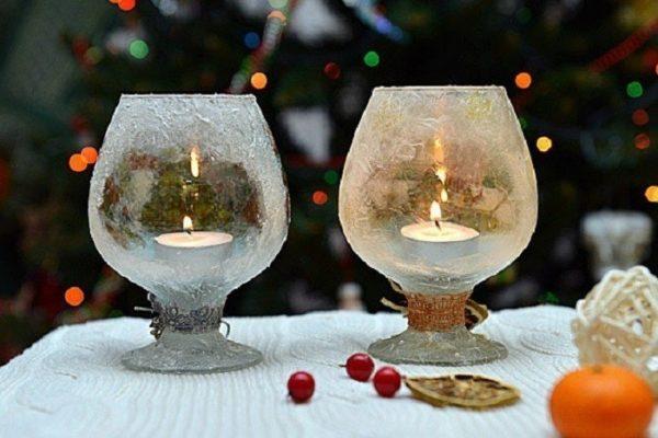 Новогодние светильники из бокалов