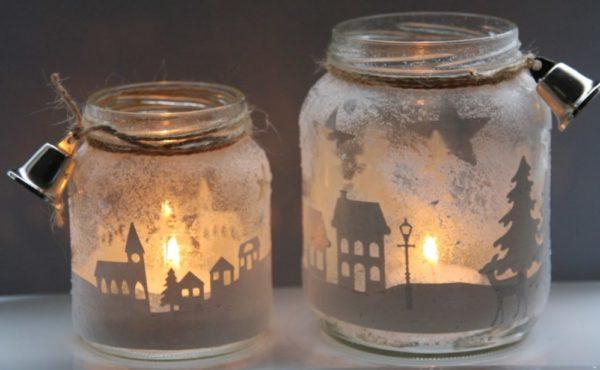 Новогодние светильники из стеклянных банок