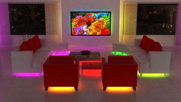Многоцветная светодиодная лента для подсветки мебели