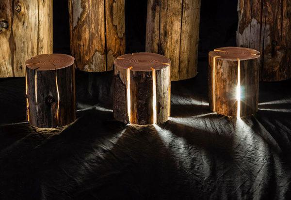 Светильники из ствола дерева