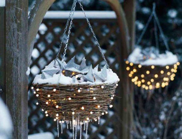 Уличный светильник в виде гнезда на Новый год
