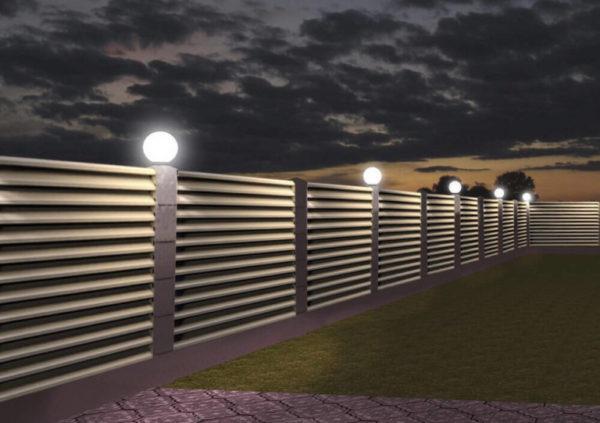 Светильники для освещения забора жалюзи