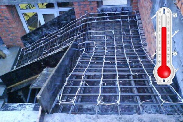 podogrev betona provodami 600x399 - Теплый пол проводом пнсв