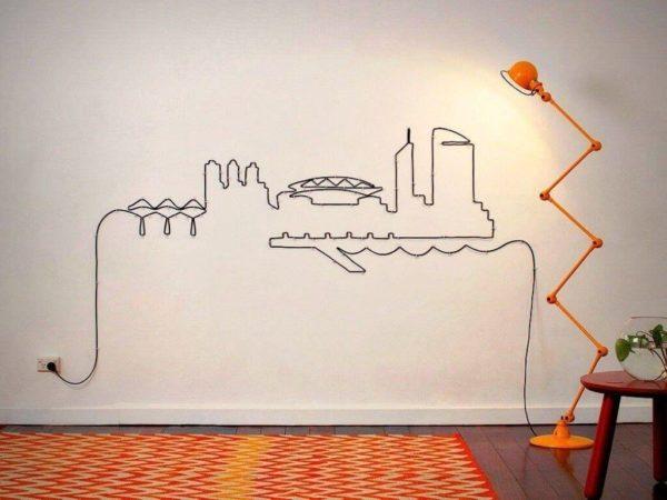 Декор проводов на стене