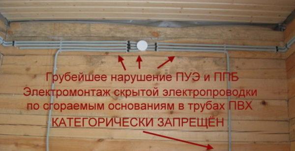 Скрытая проводка по сгораемым основаниям запрещена